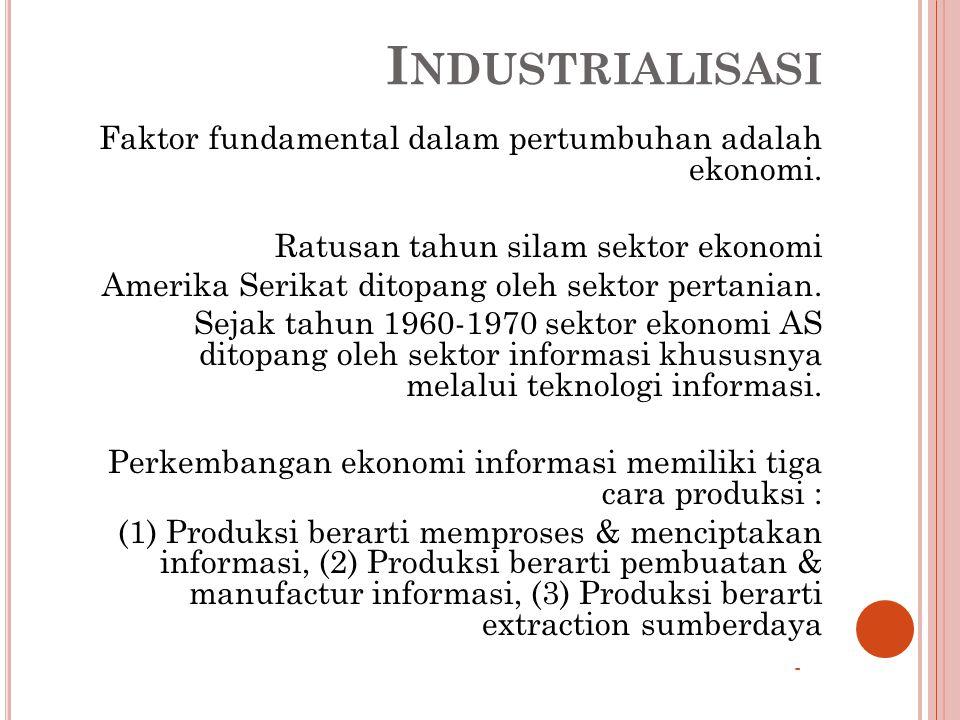 I NDUSTRIALISASI Faktor fundamental dalam pertumbuhan adalah ekonomi.