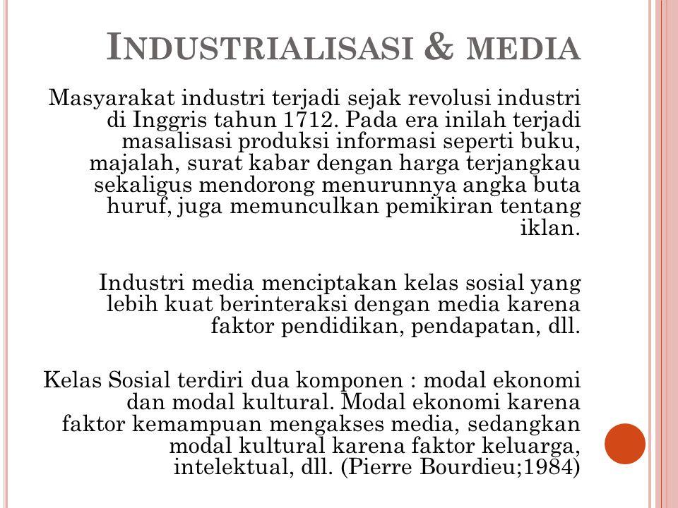 PRODUKSI MASSA & INDUSTRI BUDAYA Dunia industri mengkombinasikan teknologi dan ekonomi memunculkan produksi massa sekaligus budaya populer.