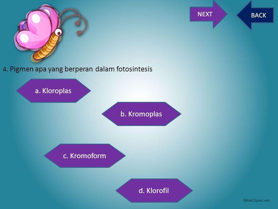 NEXT BACK 4. Pigmen apa yang berperan dalam fotosintesis a. Kloroplas c. Kromoform b. Kromoplas d. Klorofil