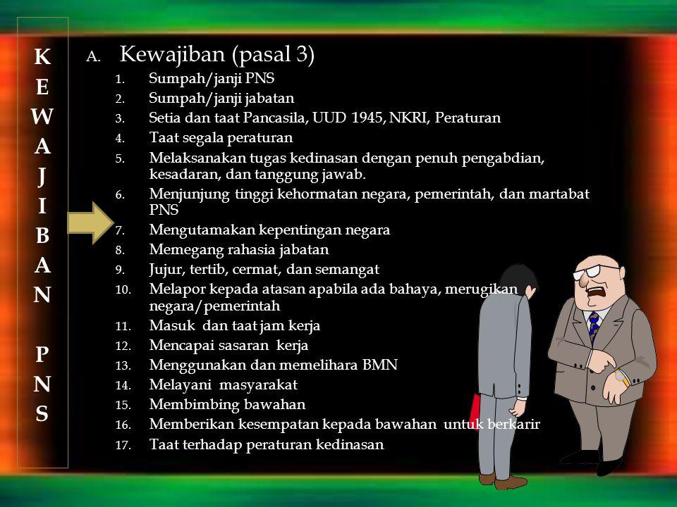 KEWAJIBANPNSKEWAJIBANPNS A. Kewajiban (pasal 3) 1. Sumpah/janji PNS 2. Sumpah/janji jabatan 3. Setia dan taat Pancasila, UUD 1945, NKRI, Peraturan 4.