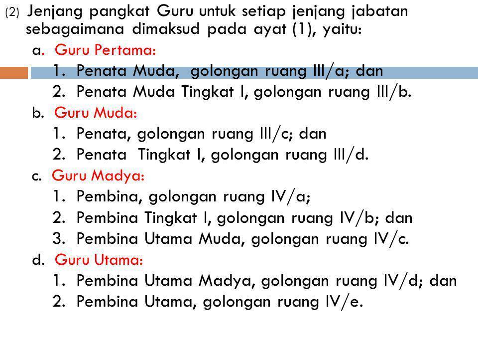 (2) Jenjang pangkat Guru untuk setiap jenjang jabatan sebagaimana dimaksud pada ayat (1), yaitu: a. Guru Pertama: 1. Penata Muda, golongan ruang III/a