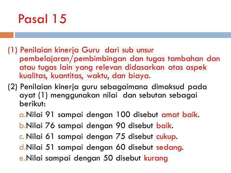 Pasal 15 (1) Penilaian kinerja Guru dari sub unsur pembelajaran/pembimbingan dan tugas tambahan dan atau tugas lain yang relevan didasarkan atas aspek