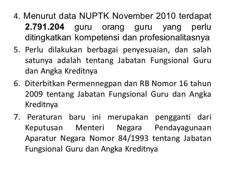 4. Menurut data NUPTK November 2010 terdapat 2.791.204 guru orang guru yang perlu ditingkatkan kompetensi dan profesionalitasnya 5. Perlu dilakukan be
