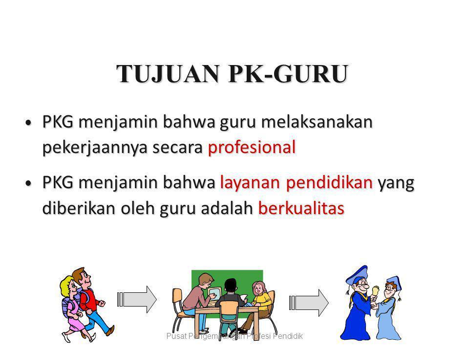 TUJUAN PK-GURU  PKG menjamin bahwa guru melaksanakan pekerjaannya secara profesional  PKG menjamin bahwa layanan pendidikan yang diberikan oleh guru