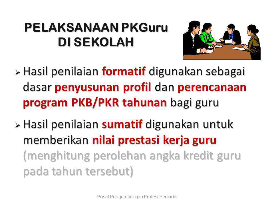  Hasil penilaian formatif digunakan sebagai dasar penyusunan profil dan perencanaan program PKB/PKR tahunan bagi guru  Hasil penilaian sumatif digun