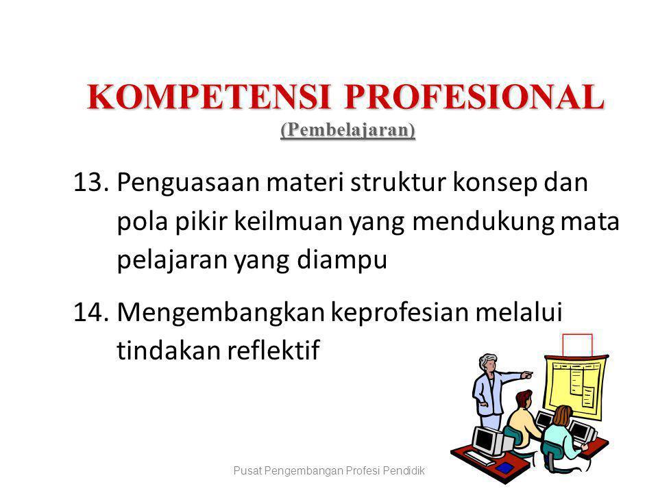 KOMPETENSI PROFESIONAL (Pembelajaran) (Pembelajaran) 13.Penguasaan materi struktur konsep dan pola pikir keilmuan yang mendukung mata pelajaran yang d