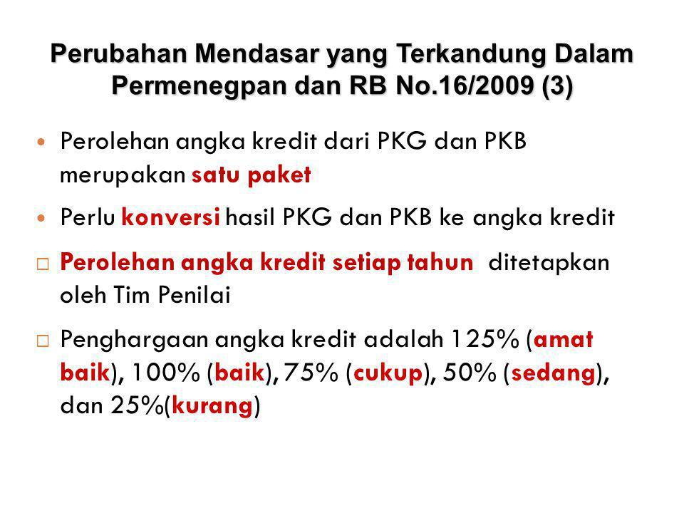  Penghargaan angka kredit adalah 125% (amat baik), 100% (baik), 75% (cukup), 50% (sedang), dan 25%(kurang)  Jumlah angka kredit diperoleh dari: • Unsur utama (Pendidikan, PK Guru, PKB) ≥ 90% • Unsur penunjang ≤10% Perubahan Mendasar yang Terkandung Dalam Permenegpan dan RB No.16/2009 (4 )