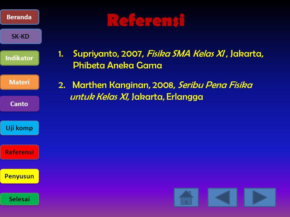 Beranda SK-KD Indikator Materi Uji komp Referensi Penyusun Selesai Canto Referensi 1.Supriyanto, 2007, Fisika SMA Kelas XI, Jakarta, Phibeta Aneka Gam
