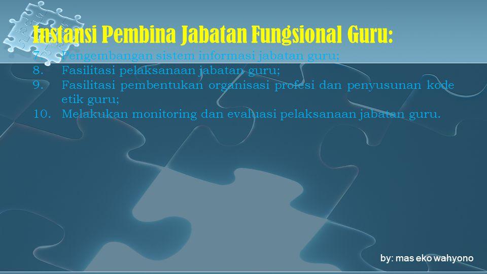 Instansi Pembina Jabatan Fungsional Guru: 7.Pengembangan sistem informasi jabatan guru; 8.Fasilitasi pelaksanaan jabatan guru; 9.Fasilitasi pembentuka