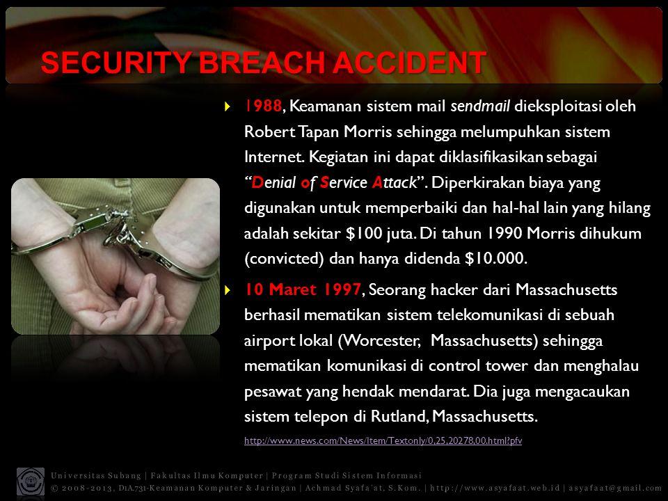 SECURITY BREACH ACCIDENT  1988, Keamanan sistem mail sendmail dieksploitasi oleh Robert Tapan Morris sehingga melumpuhkan sistem Internet. Kegiatan i