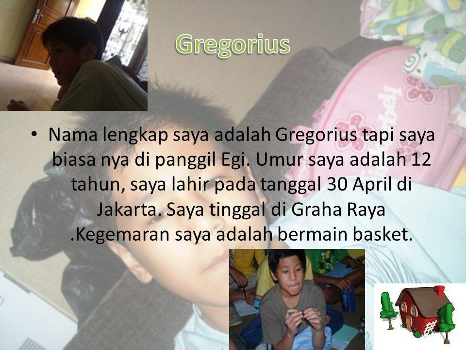 • Nama lengkap saya adalah Gregorius tapi saya biasa nya di panggil Egi.