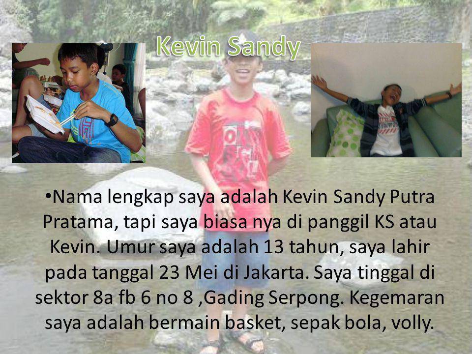 • Nama lengkap saya adalah Kevin Sandy Putra Pratama, tapi saya biasa nya di panggil KS atau Kevin.