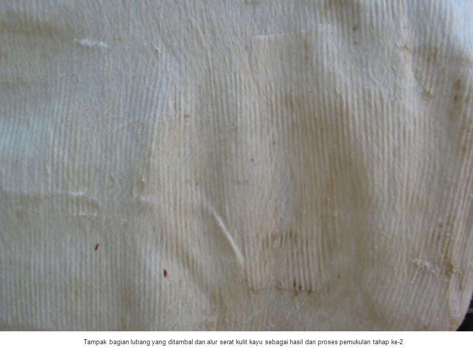 Tampak bagian lubang yang ditambal dan alur serat kulit kayu sebagai hasil dari proses pemukulan tahap ke-2