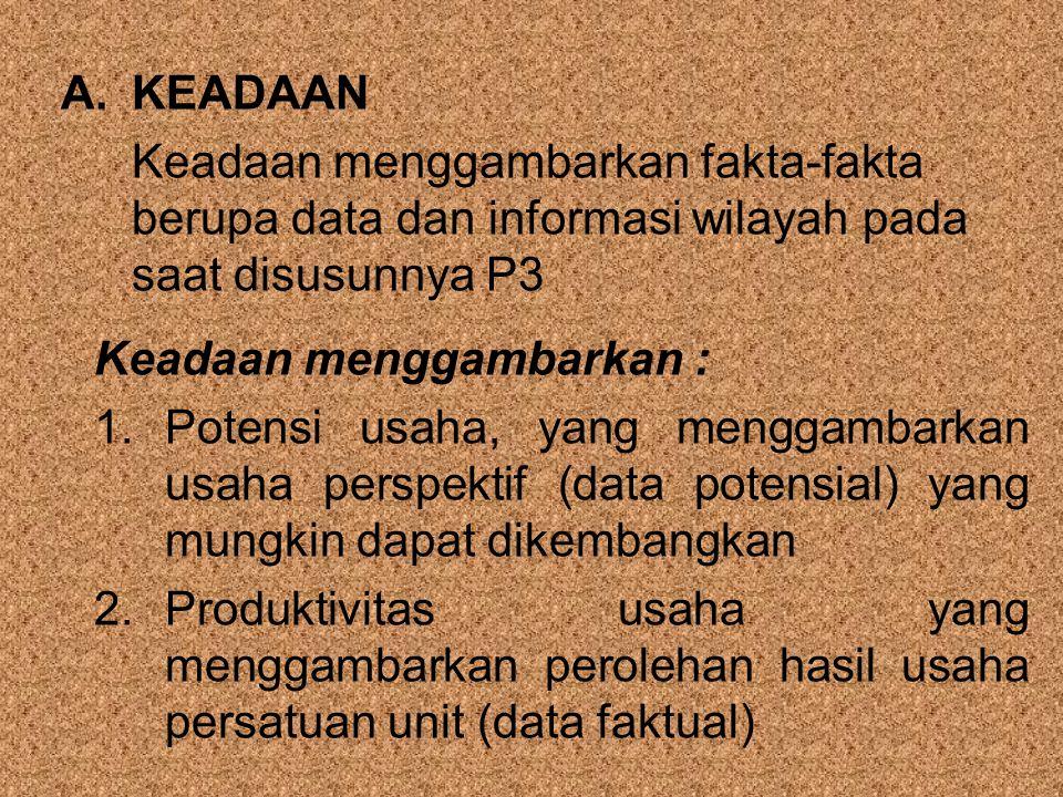 A.KEADAAN Keadaan menggambarkan fakta-fakta berupa data dan informasi wilayah pada saat disusunnya P3 Keadaan menggambarkan : 1.Potensi usaha, yang me
