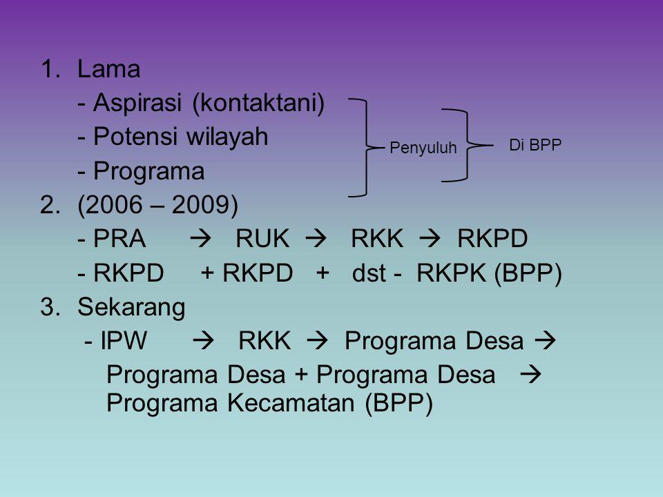 1.Lama - Aspirasi (kontaktani) - Potensi wilayah - Programa 2.(2006 – 2009) - PRA  RUK  RKK  RKPD - RKPD + RKPD + dst - RKPK (BPP) 3.Sekarang - IPW