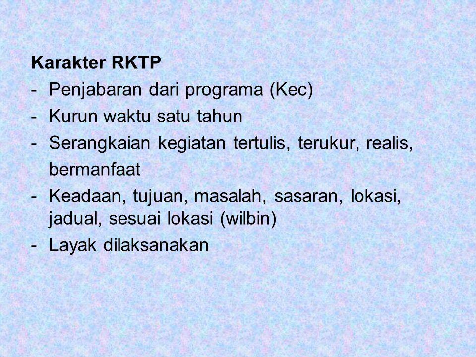Karakter RKTP -Penjabaran dari programa (Kec) -Kurun waktu satu tahun -Serangkaian kegiatan tertulis, terukur, realis, bermanfaat -Keadaan, tujuan, ma