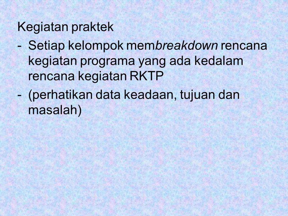 Kegiatan praktek -Setiap kelompok membreakdown rencana kegiatan programa yang ada kedalam rencana kegiatan RKTP -(perhatikan data keadaan, tujuan dan