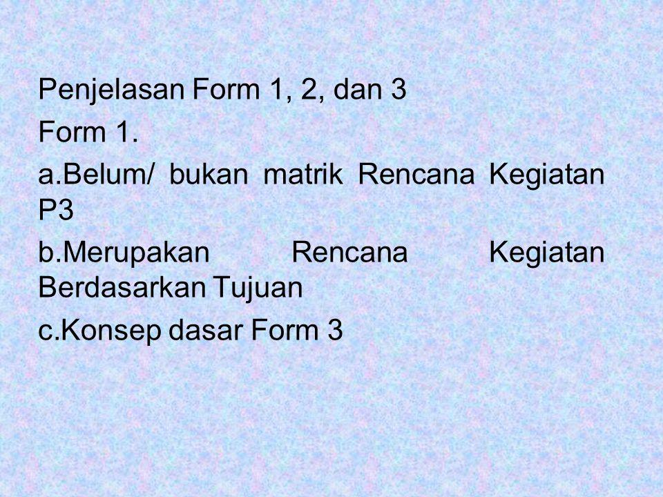 Penjelasan Form 1, 2, dan 3 Form 1. a.Belum/ bukan matrik Rencana Kegiatan P3 b.Merupakan Rencana Kegiatan Berdasarkan Tujuan c.Konsep dasar Form 3
