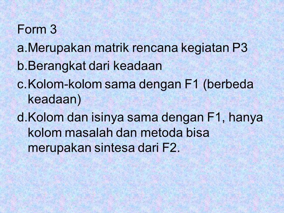 Form 3 a.Merupakan matrik rencana kegiatan P3 b.Berangkat dari keadaan c.Kolom-kolom sama dengan F1 (berbeda keadaan) d.Kolom dan isinya sama dengan F