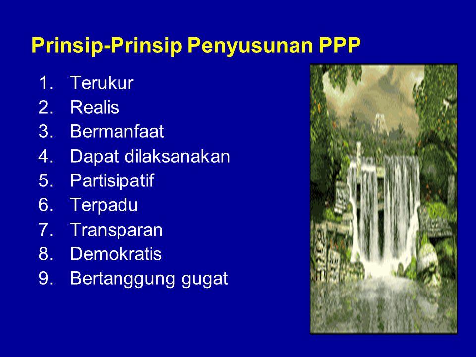 Prinsip-Prinsip Penyusunan PPP 1.Terukur 2.Realis 3.Bermanfaat 4.Dapat dilaksanakan 5.Partisipatif 6.Terpadu 7.Transparan 8.Demokratis 9.Bertanggung g