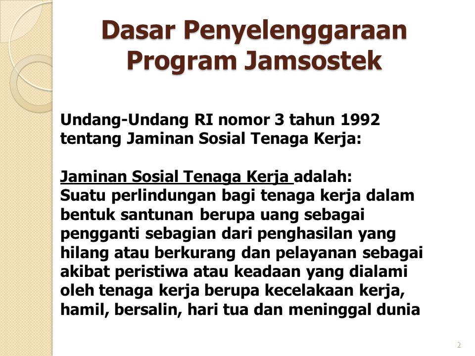 Dasar Penyelenggaraan Program Jamsostek 2 Undang-Undang RI nomor 3 tahun 1992 tentang Jaminan Sosial Tenaga Kerja: Jaminan Sosial Tenaga Kerja adalah: