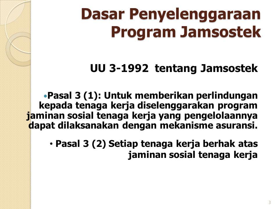 Dasar Penyelenggaraan Program Jamsostek UU 3-1992 tentang Jamsostek PPasal 3 (1): Untuk memberikan perlindungan kepada tenaga kerja diselenggarakan