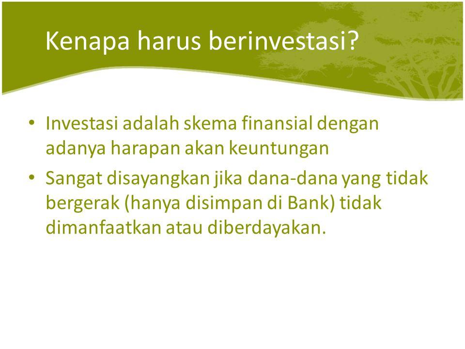 Kenapa harus berinvestasi? • Investasi adalah skema finansial dengan adanya harapan akan keuntungan • Sangat disayangkan jika dana-dana yang tidak ber