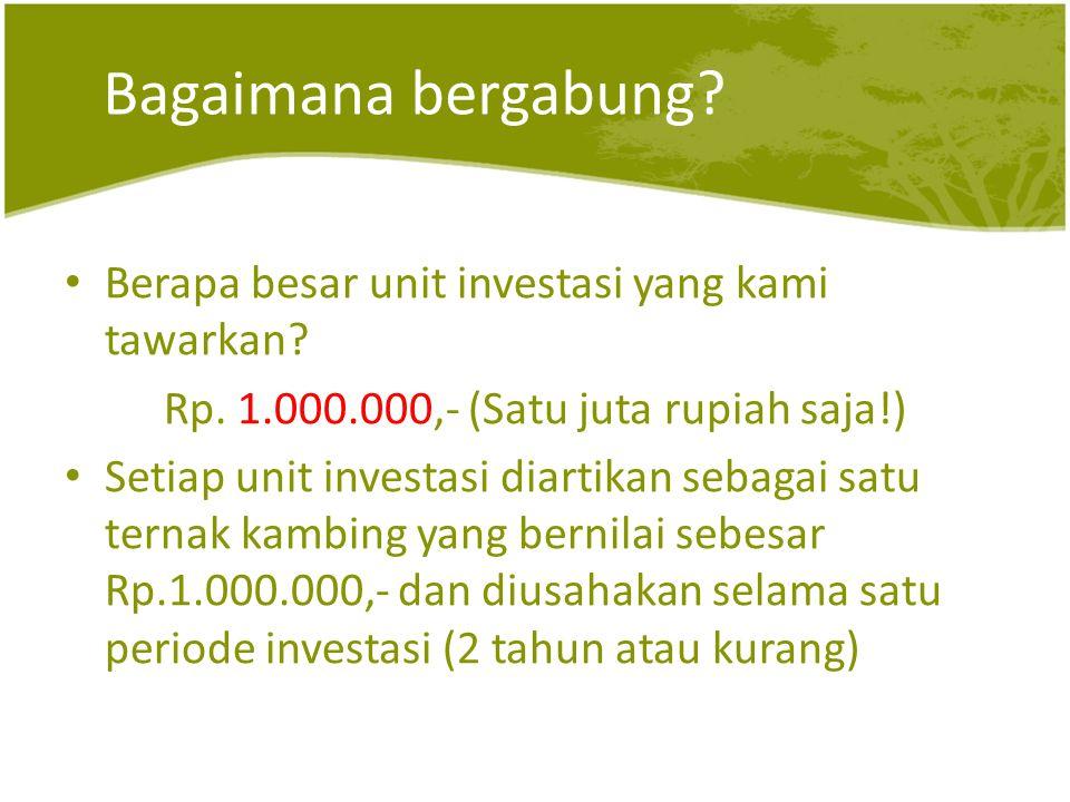Bagaimana bergabung. • Berapa besar unit investasi yang kami tawarkan.
