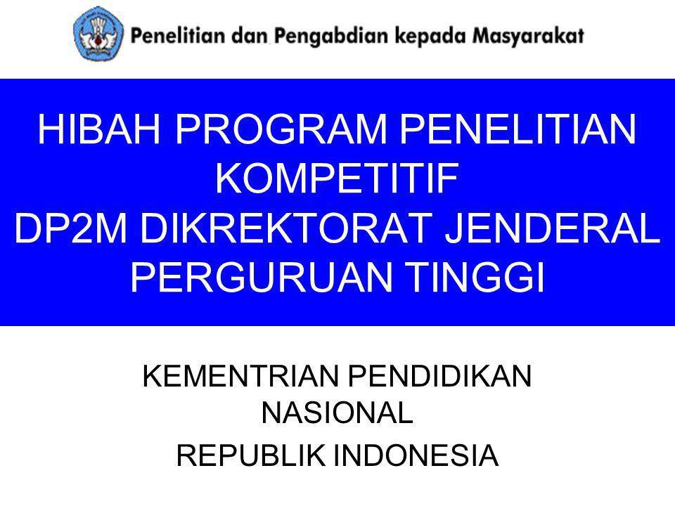 PROGRAM PENELITIAN (Institusi) DP2M (2010) No.PENELITIANWaktu/Dana 10.Hibah Penelitian Kerjasama antar Lembaga dan PT (35 judul) Rp.
