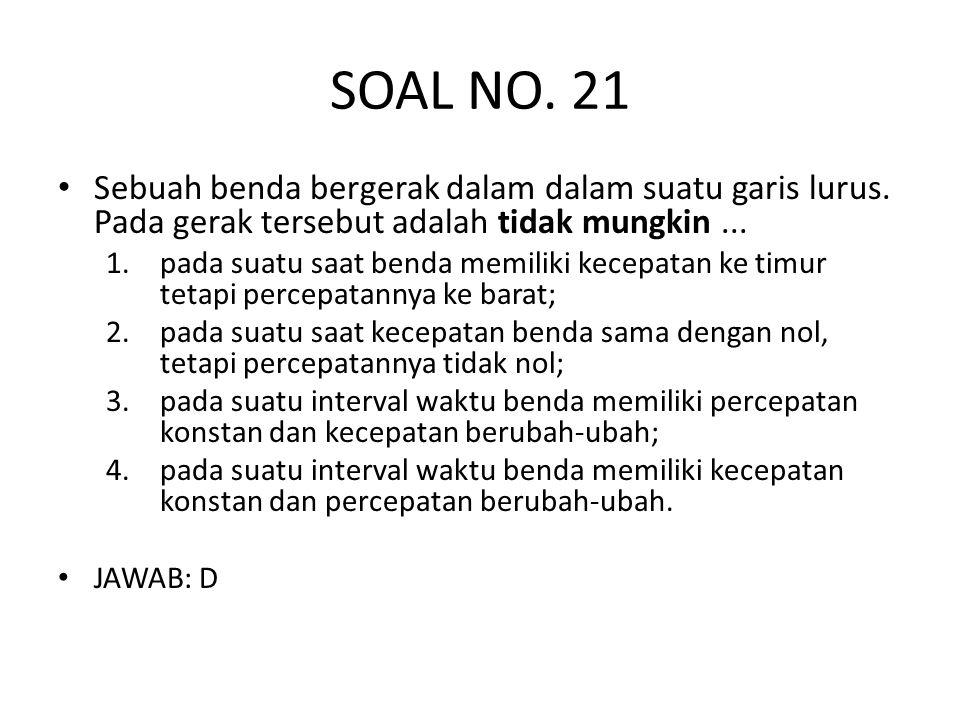 SOAL NO. 21 • Sebuah benda bergerak dalam dalam suatu garis lurus. Pada gerak tersebut adalah tidak mungkin... 1.pada suatu saat benda memiliki kecepa