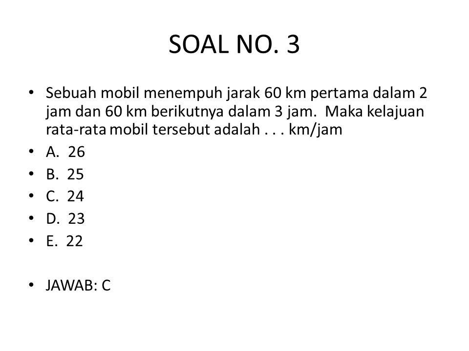 SOAL NO. 3 • Sebuah mobil menempuh jarak 60 km pertama dalam 2 jam dan 60 km berikutnya dalam 3 jam. Maka kelajuan rata-rata mobil tersebut adalah...