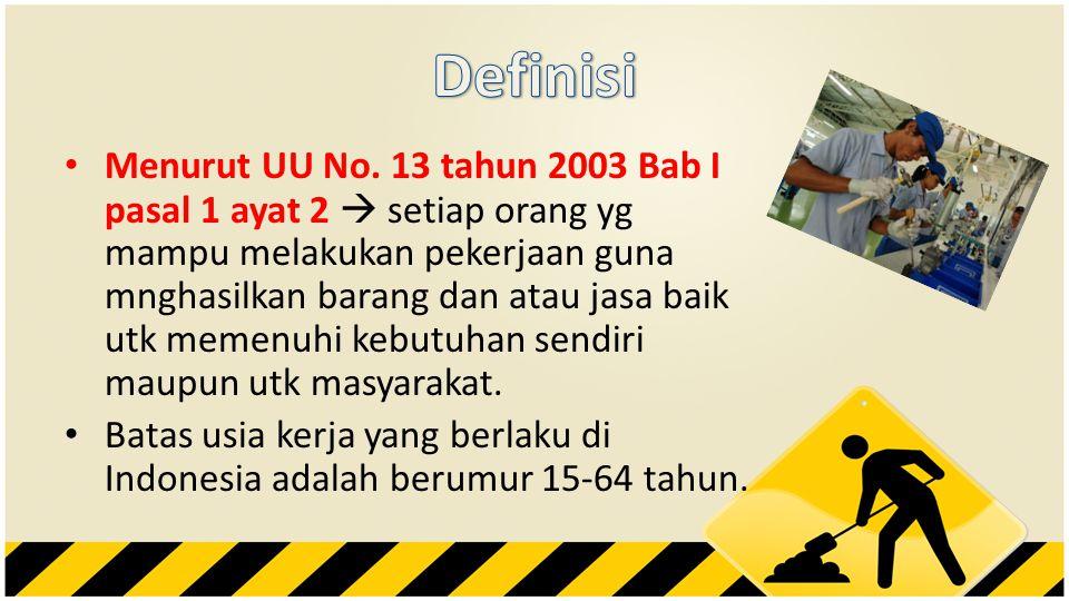 • Menurut UU No. 13 tahun 2003 Bab I pasal 1 ayat 2  setiap orang yg mampu melakukan pekerjaan guna mnghasilkan barang dan atau jasa baik utk memenuh