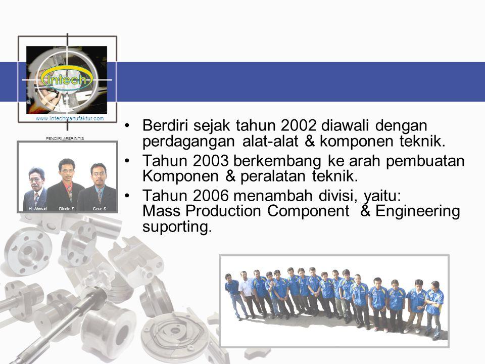 •Berdiri sejak tahun 2002 diawali dengan perdagangan alat-alat & komponen teknik. •Tahun 2003 berkembang ke arah pembuatan Komponen & peralatan teknik