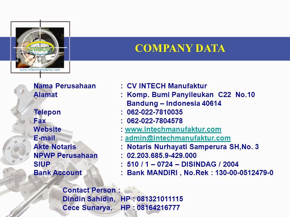 COMPANY DATA Nama Perusahaan: CV INTECH Manufaktur Alamat: Komp. Bumi Panyileukan C22 No.10 Bandung – Indonesia 40614 Telepon: 062-022-7810035 Fax: 06