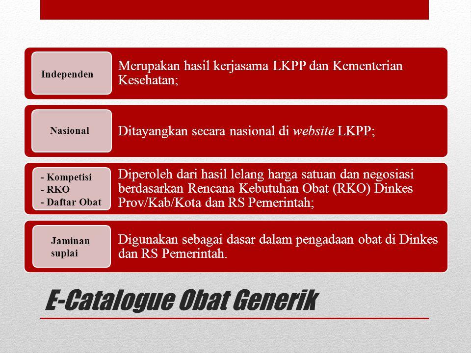 E-Catalogue Obat Generik Merupakan hasil kerjasama LKPP dan Kementerian Kesehatan; Ditayangkan secara nasional di website LKPP; Diperoleh dari hasil l