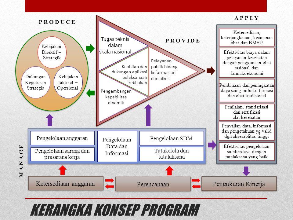 KERANGKA KONSEP PROGRAM Kebijakan Direktif – Strategik Kebijakan Taktikal – Opersional Dukungan Keputusan Strategis Tugas teknis dalam skala nasional