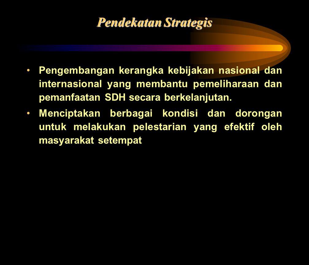 Pendekatan Strategis •Pengembangan kerangka kebijakan nasional dan internasional yang membantu pemeliharaan dan pemanfaatan SDH secara berkelanjutan.