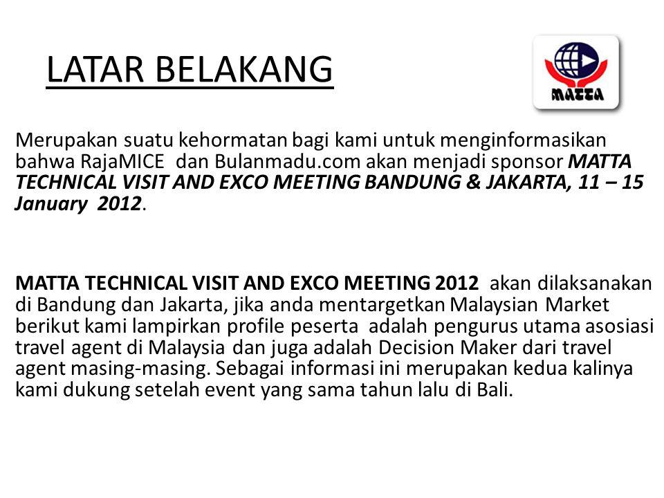 LATAR BELAKANG Merupakan suatu kehormatan bagi kami untuk menginformasikan bahwa RajaMICE dan Bulanmadu.com akan menjadi sponsor MATTA TECHNICAL VISIT