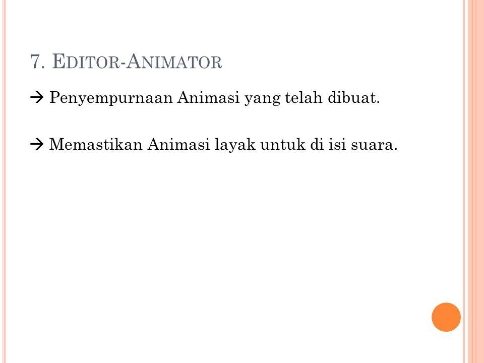 7. E DITOR -A NIMATOR  Penyempurnaan Animasi yang telah dibuat.  Memastikan Animasi layak untuk di isi suara.