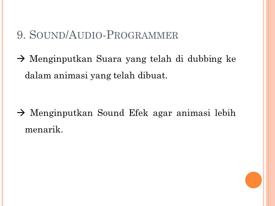 9. S OUND /A UDIO -P ROGRAMMER  Menginputkan Suara yang telah di dubbing ke dalam animasi yang telah dibuat.  Menginputkan Sound Efek agar animasi l