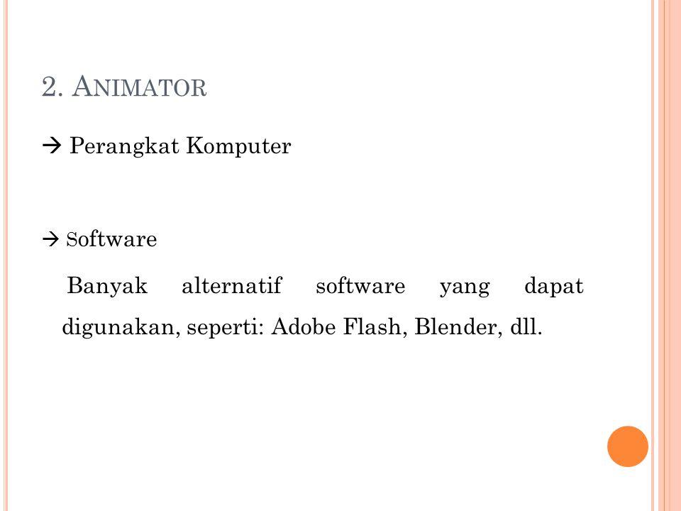 2. A NIMATOR  Perangkat Komputer  S oftware Banyak alternatif software yang dapat digunakan, seperti: Adobe Flash, Blender, dll.