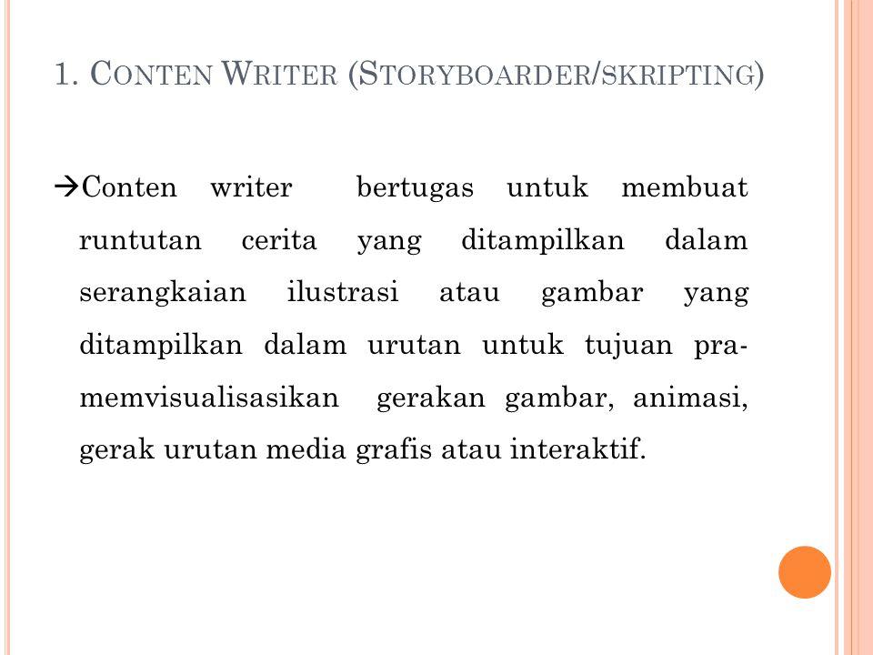 1. C ONTEN W RITER (S TORYBOARDER / SKRIPTING )  Conten writer bertugas untuk membuat runtutan cerita yang ditampilkan dalam serangkaian ilustrasi at