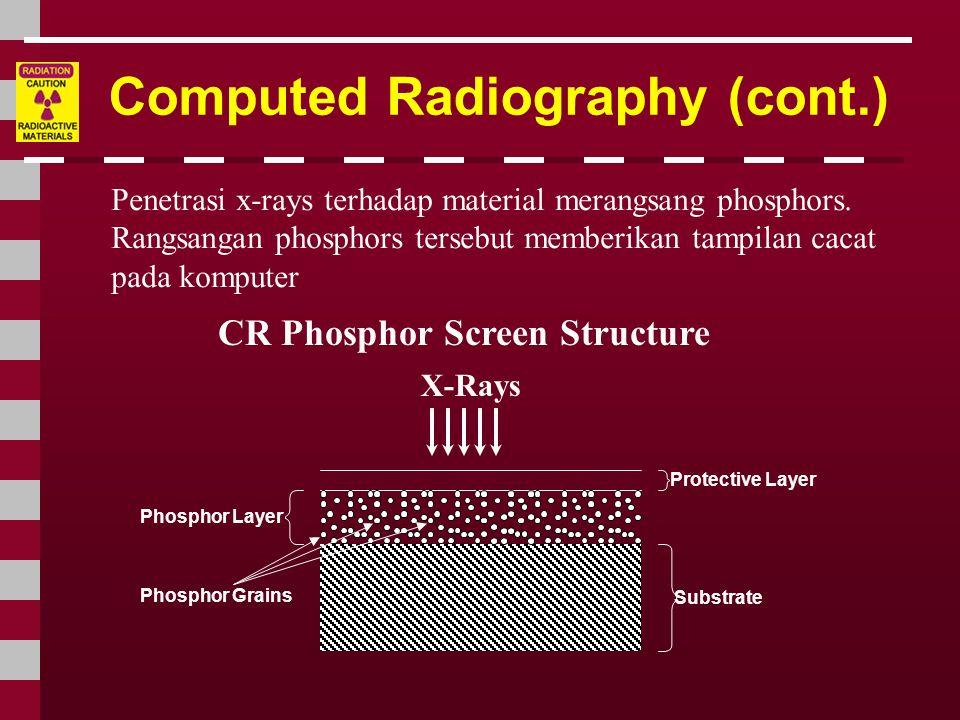 Computed Radiography (cont.) CR Phosphor Screen Structure Penetrasi x-rays terhadap material merangsang phosphors. Rangsangan phosphors tersebut membe