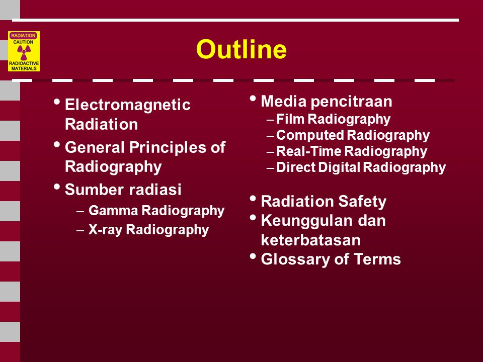 Outline • Electromagnetic Radiation • General Principles of Radiography • Sumber radiasi –Gamma Radiography –X-ray Radiography • Media pencitraan –Fil
