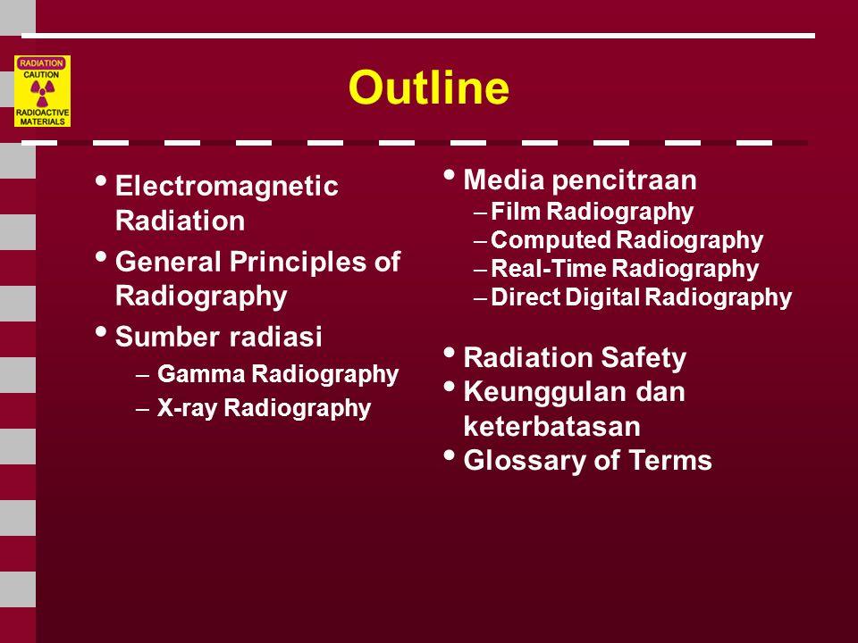 Electromagnetic Radiation Radiasi yang digunakan pada test radiography memiliki energi yang lebih besar ( panjang gelombangnya lebih pendek ) daripada barang elektro yang lainnya.