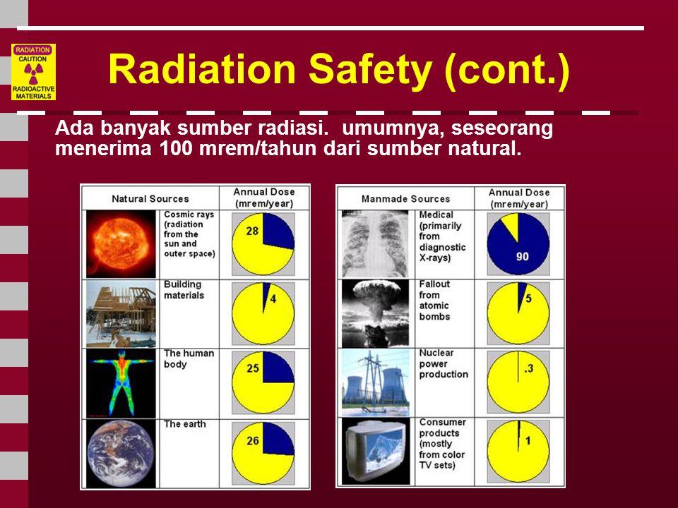 Radiation Safety (cont.) Ada banyak sumber radiasi. umumnya, seseorang menerima 100 mrem/tahun dari sumber natural.