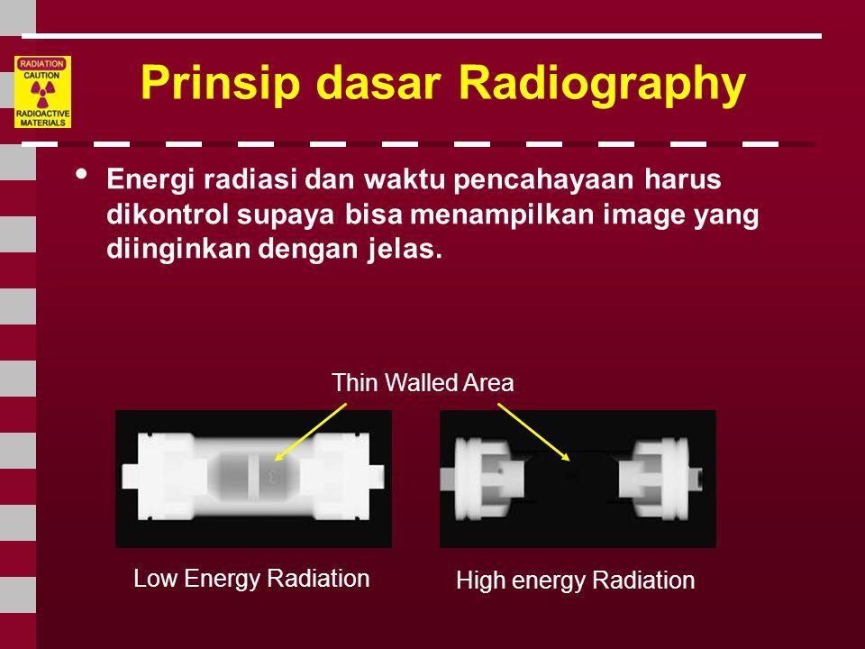 Prinsip dasar Radiography • Energi radiasi dan waktu pencahayaan harus dikontrol supaya bisa menampilkan image yang diinginkan dengan jelas. Thin Wall