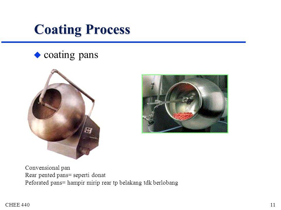 CHEE 44011 Coating Process u coating pans Convensional pan Rear pented pans= seperti donat Peforated pans= hampir mirip rear tp belakang tdk berlobang