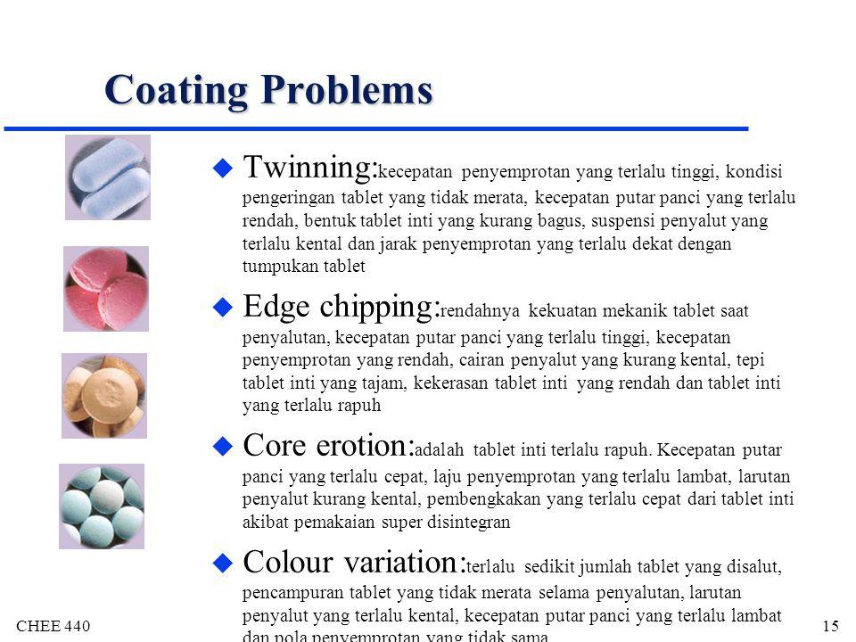 CHEE 44015 Coating Problems u Twinning: kecepatan penyemprotan yang terlalu tinggi, kondisi pengeringan tablet yang tidak merata, kecepatan putar panc