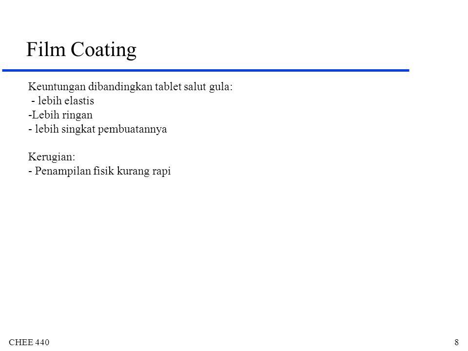 CHEE 4409 Film Coating Polimer: - harus dapat melekat -Contoh : HPMC, etil selulosa, metil selulosa, PVA Plasticizer : - Polyols: gliserol (gliserin), propilen glikol, polietilen glikol - Ester-ester asam organik: Ester-ester ptalat (dietil, dibutil), Triacetin, ester-ester sitrat (trietil, asetil trietil, asetil tributil) -Minyak (oil) : castor oil, fraksi minyak kelapa Pewarna: -Identitas - Mengurangi pemalsuan -Melengkapi penyaklutan -Pewarna organik: Sunset yellow, Tartrazine, Erythrosine.